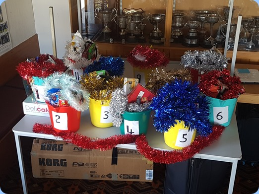 Our magnificent Christmas Raffle 'Hampers'. Kindly organized by our Secretary, Delyse Whorwood.