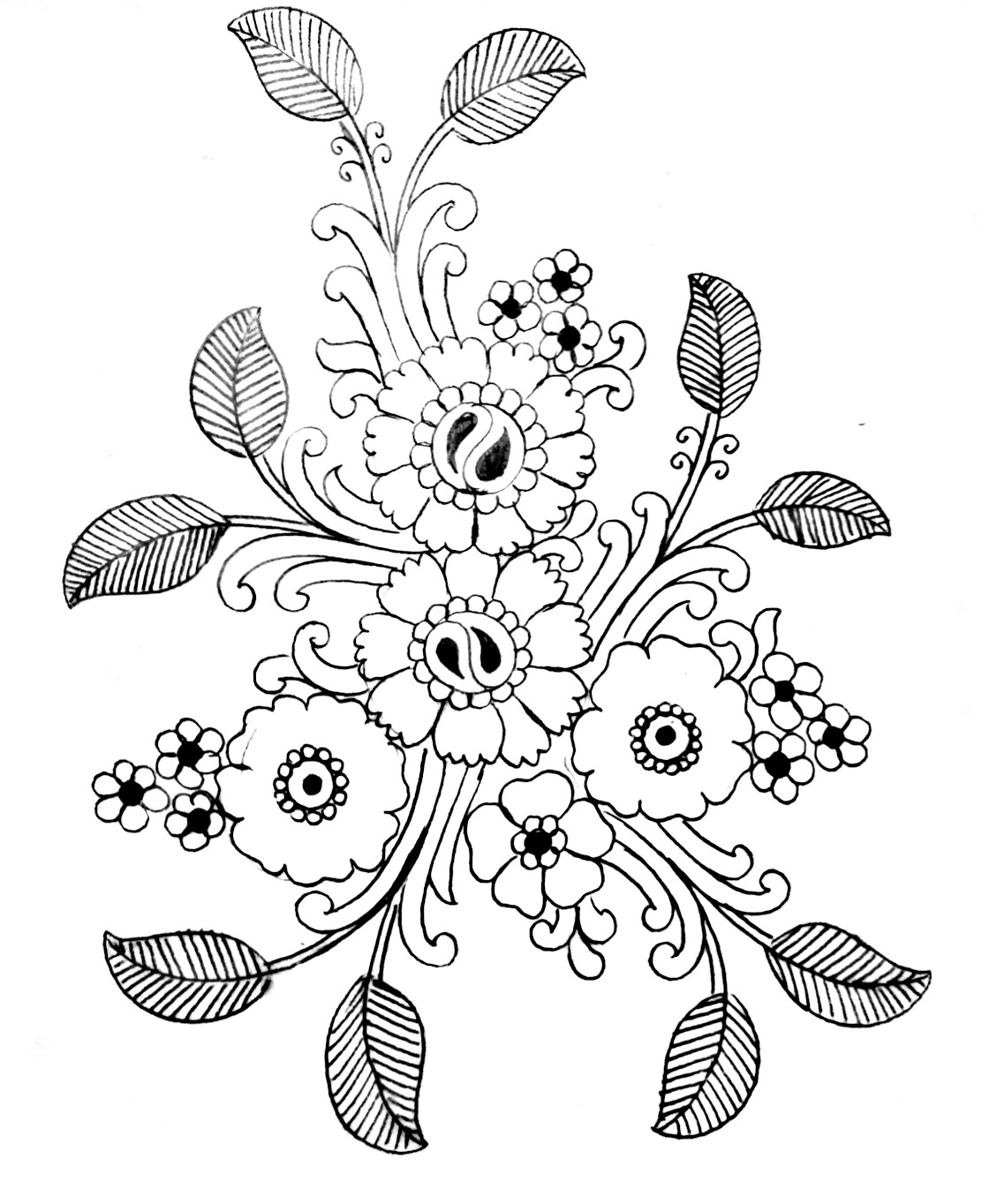 Flowers design drawing for embroidery/free download embroidery design images/ pencil sketches saree pics for embroidery.