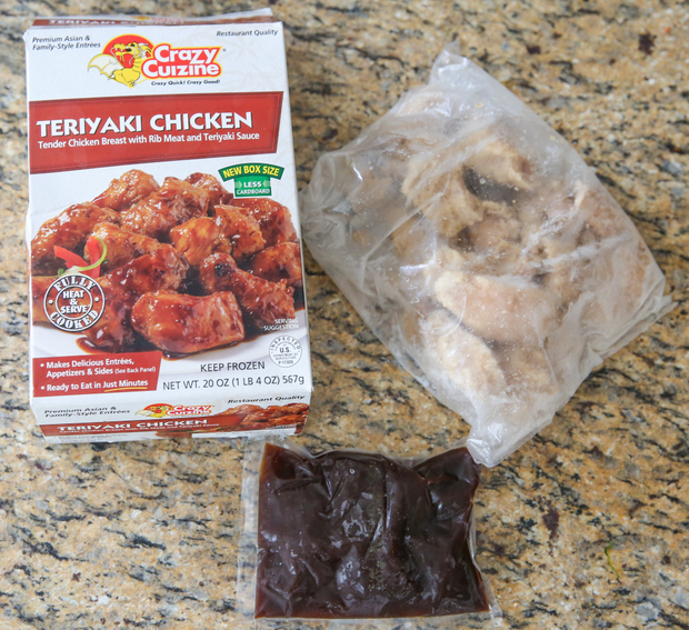process photo showing what comes in the crazy cuizine teriyaki chicken package