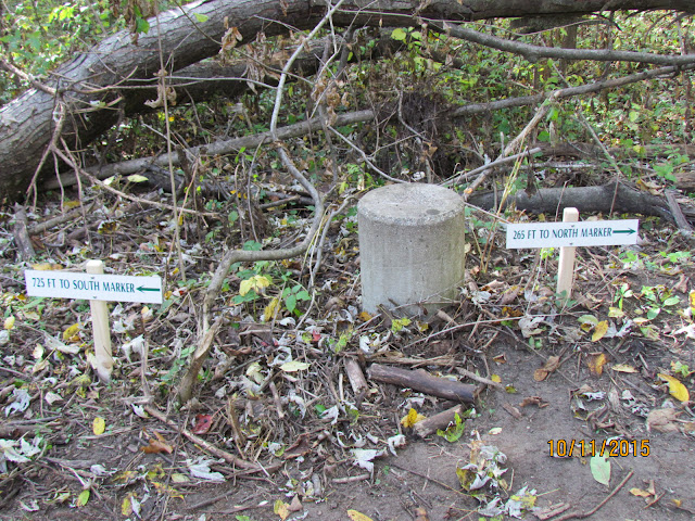 Signs indicating the location of the two meridian markers.