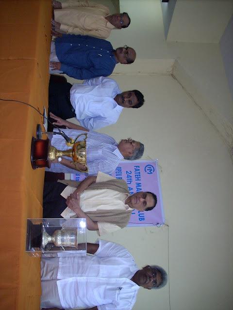 2. L to R T Devandranath Chairman Tournament committee, G SomiReddy, Secretary APSBA, T Seshnarain EC Member FMC, A Subba Raju, Prsident APSBA, K Swaminathan, Chief Vigilance Commissioner & former Chief secretary Govt of AP and NR Kirubakara Moorhty President BFI