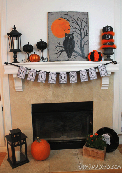 Owl and pumpkin halloween orange and black mantel