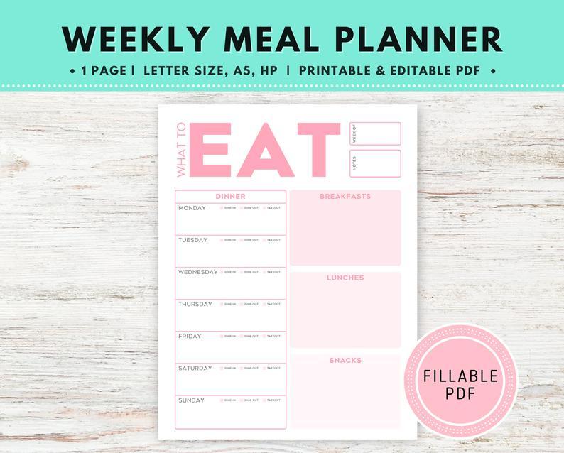 Meal Menu Planner Editable PDF