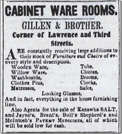 Copy of GILLEN & Brother cabinets_SpiritoftheTimes_IrontonOH_22 Feb 1853_pg 3