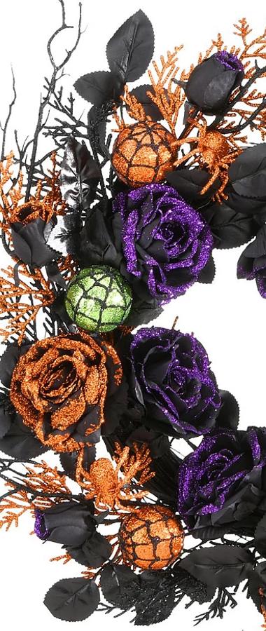 "National Tree Company 24"" Halloween Rose Wreath"