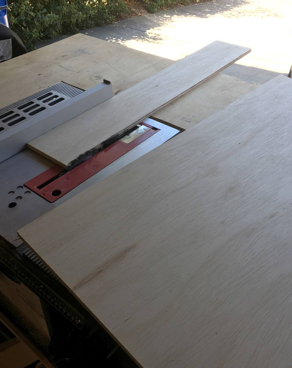 Plywood on table saw