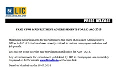 LIC Fake Advertisement Press Release 2018 www.indgovtjobs.in