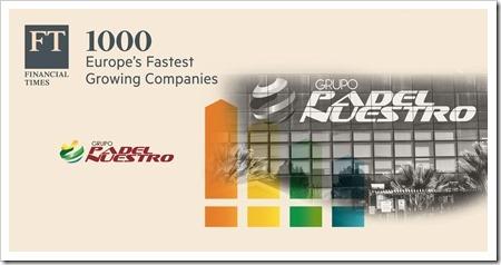Padel Nuestro de las empresas que más rápido crecen en Europa según el Financial Times & Statista.