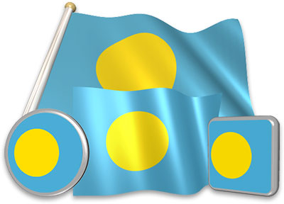 Palauan flag animated gif collection