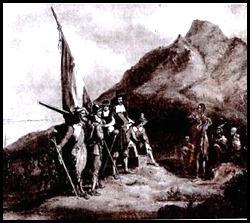 Lukisan yang mengilustrasikan kedatangan para pelaut Belanda di Tanjung harapan 1652