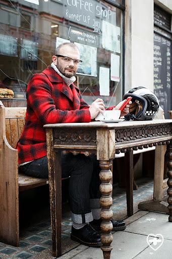 Dave Skinner; TV Producer and Director; Enjoy Life Wear Scotch coat; COS jumper; Blue Collar Worker jeans; DM shoes; Crazy Pig ring and Bracelet; Last Lap helmet;