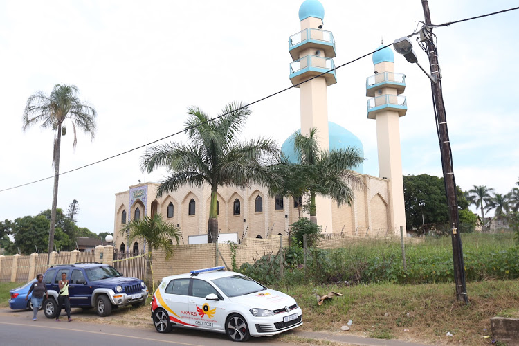 The Hawks outside the Mosque in Verulam that was the scene of a brutal attack that occurred on May 10, 2018.