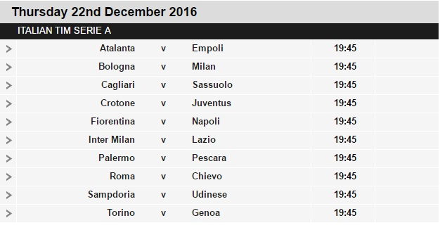 Serie%2BA%2Bschedule%2B18 Planning a Football Trip to Italy - SERIE A FIXTURES 2016/17