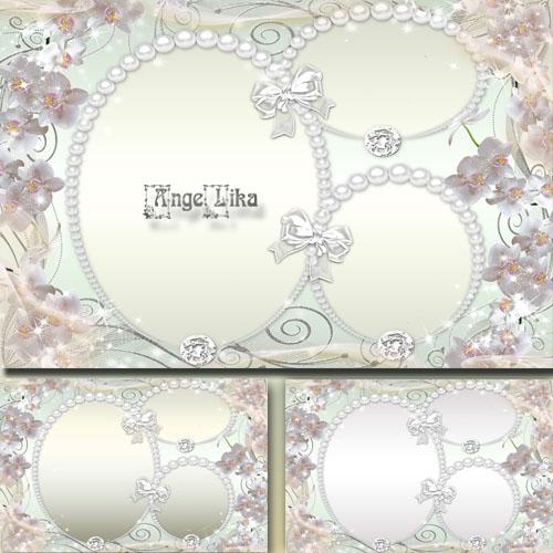 Женская цветочная рамка на 3 фото - Белые орхидеи