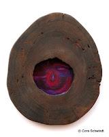 """""""Walwirbel 7. Chakra"""", Öl auf Leinwand hinter lasierter, hohler Baumscheibe, 35x40, 2005"""