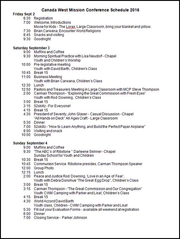 MC Schedule 2016