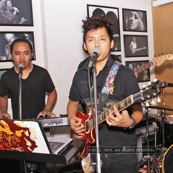 Mike's band performs during bikers' night at AMPM Cafe & Bar, in Delhi.
