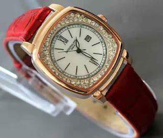 jam tangan Patek philippe date ring diamond Red