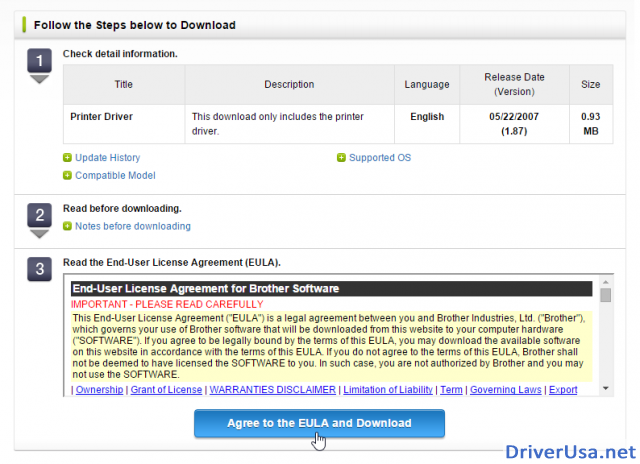 Agree to the EULA and Download to download Brother HL-4150CDN printer driver