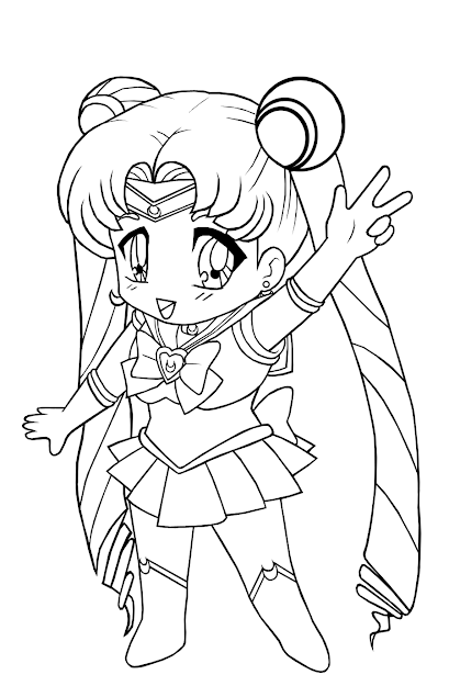 Lineart Chibi Sailor Moon Coloring Pages For Girls  Kids Anime