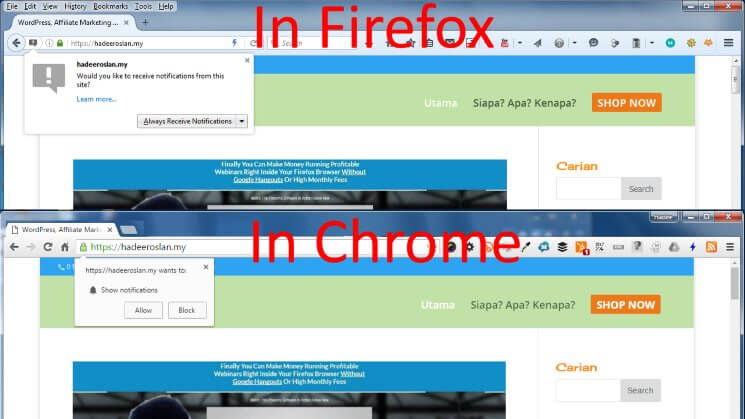 Web Push Notification HTTPS Default Prompts In Firefox and Chrome