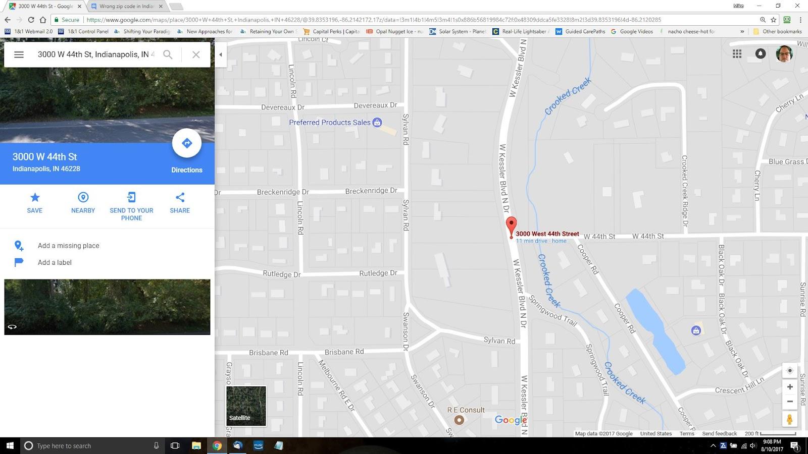 Wrong zip code in Indianapolis IN - Google Maps Help