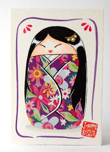 Image d'un dessin original d'une kokeshi