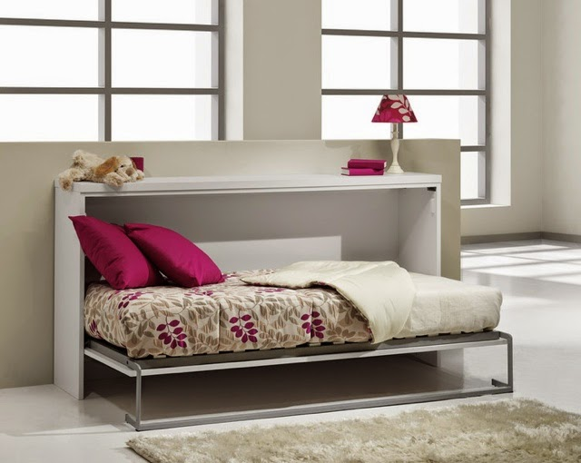 Cama plegable simple lacada blanca for Camas muebles plegables