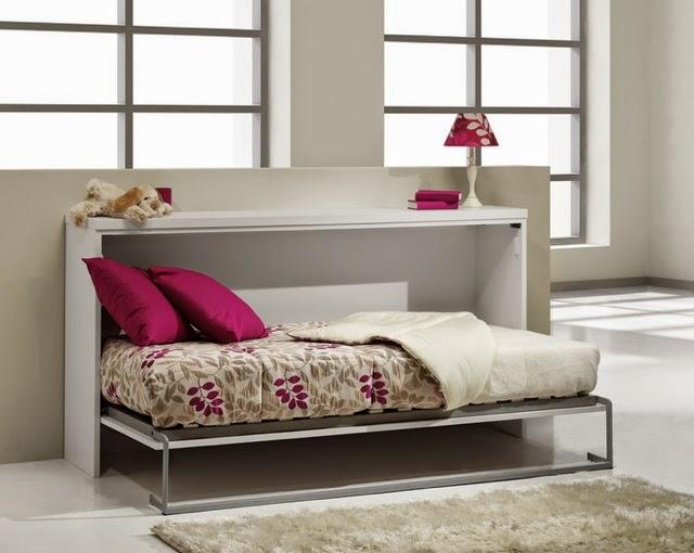 Cama plegable simple lacada blanca for Camas plegables con mueble