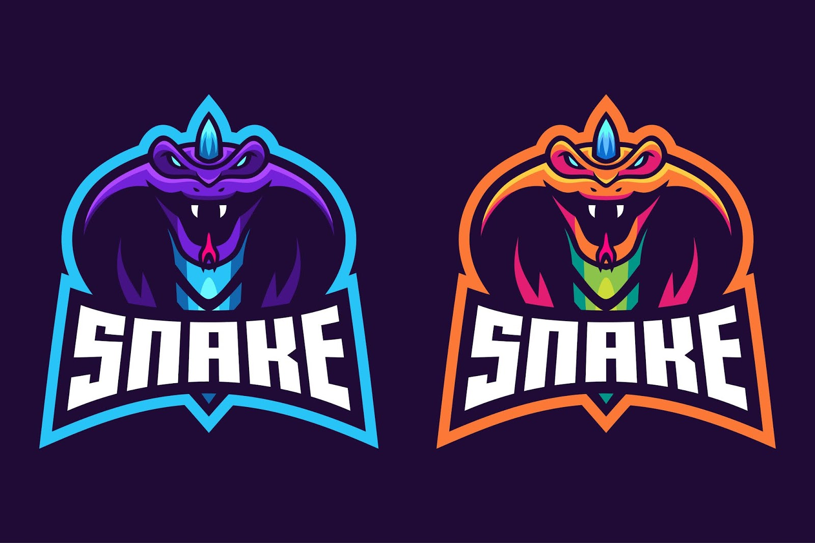 Snake With Horn Esport Logo Design Free Download Vector CDR, AI, EPS and PNG Formats