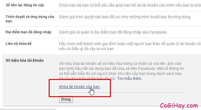 Bước 2: Vào phần khóa tài khoản Facebook - Hinh 3