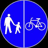 C-13 + C-16  droga dla pieszych i rowerów  (ciąg pieszo-rowerowy)  Znak kompilacji C-13 i C-16 oznacza drogę, na której dopuszcza się tylko ruch pieszych i rowerów.  Ruch pieszych i rowerzystów odbywa się odpowiednio po stronach drogi wskazanych na znaku, jeżeli symbole oddzielone są kreską pionową.  W tym przypadku ruch pieszych odbywa się po lewej stronie drogi, a ruch rowerzystów po prawej.