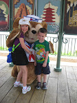 Hannah and Bryan with Duffy the Bear in Epcot in Disney 06072011a