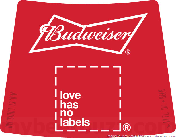 """Budweiser Adding Love Has No Labels"""" Packaging"""