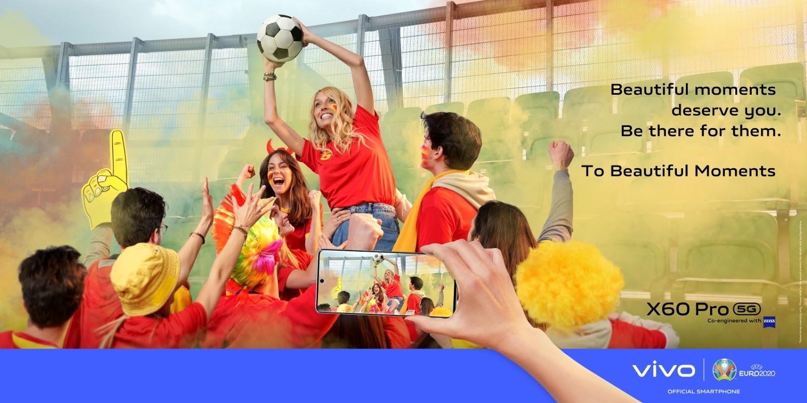 vivo ส่งแคมเปญ To Beautiful Moments ต้อนรับเทศกาลฟุตบอล UEFA EURO 2020 ในฐานะแบรนด์สมาร์ตโฟนผู้สนับสนุนการแข่งขันอย่างเป็นทางการ ตอกย้ำการขยายแบรนด์ในระดับสากลพร้อมเชื่อมต่อกับผู้ใช้งานผ่านกีฬาที่ได้รับความนิยมจากผู้คนทั่วโลกมากที่สุด