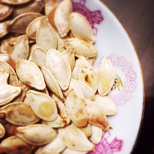 Roasted Pumpkin Seeds,  烤, 南瓜子, recipe, fresh, halloween, jack o lantern