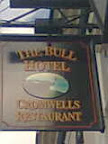 black Bull Hotel Cromwell's Restaurant Sign with small central oval bull picture