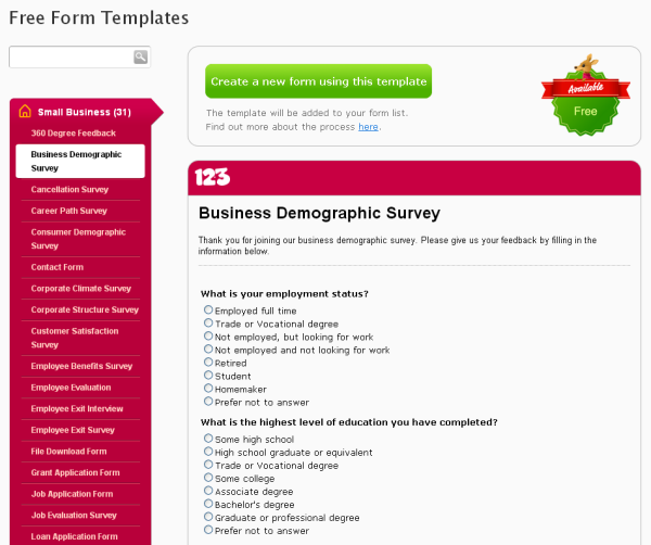 Web Form Templates | 123ContactForm web forms & surveys builder