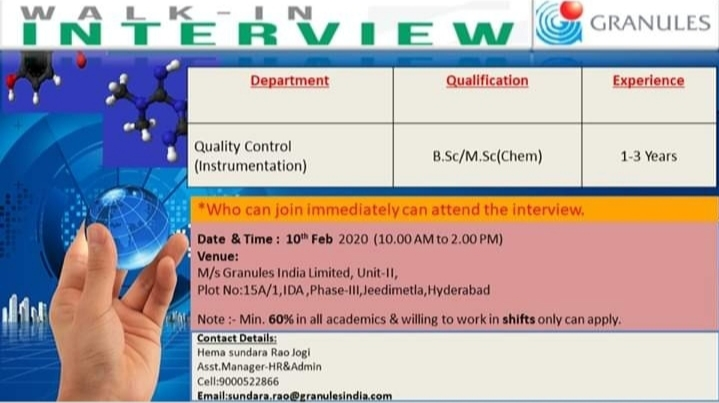 Granules India - Walk in interview for Quality Control on 10th Feb 2020