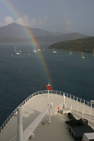 Rainbow over the bow of the Queen Mary 2