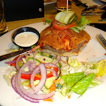 boston pizza's new pizza burger - do not order this - boring as hell in Mississauga, Ontario, Canada