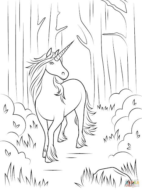 Click The Forest Unicorn Coloring Pages