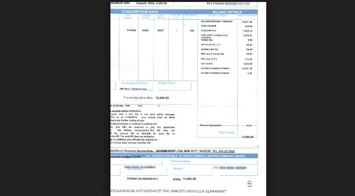 KPLC bill for a company