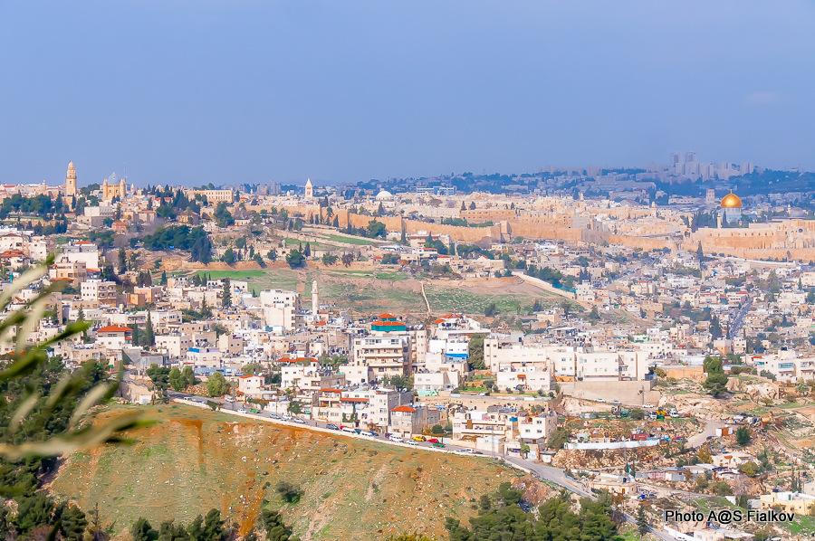 Панорама Иерусалима. Южная обзорная площадка Армон Ха-Нацив. Вид на Храмовую, Масличную, Сионскую горы.  Экскурсия в Иерусалиме Светланы Фиалковой.