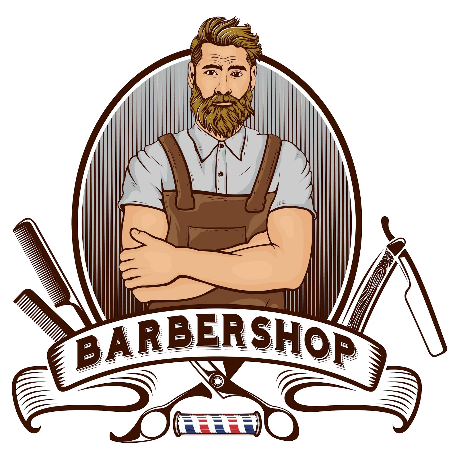 Barber Shop Mascot Free Download Vector CDR, AI, EPS and PNG Formats