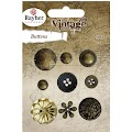 Vintage knapper: Mix Vintage Gold, 9 stk