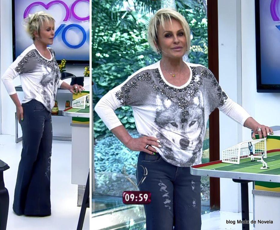 moda do programa Mais Você - look da Ana Ana Maria com blusa estampa cara de lobo