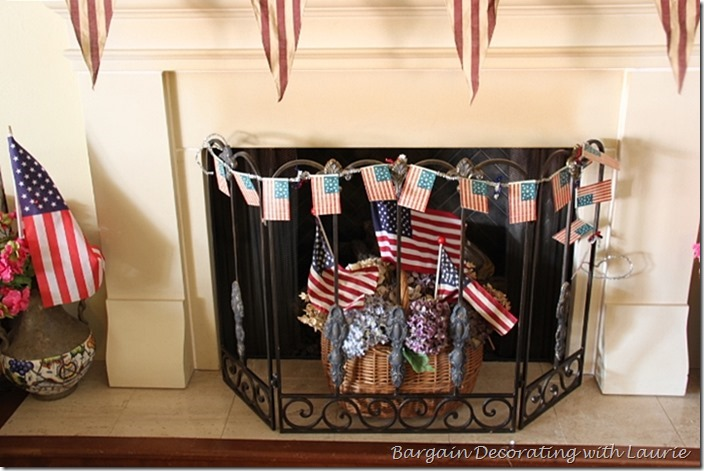 Fireplace decorated for 4th of July