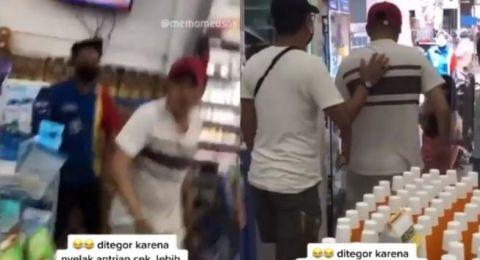 Viral Pria Ngamuk di Minimarket Serobot Antrean Tak Mau Antre