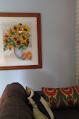 """Sunflowers with Peaches and Pear"" in Living room.JPG"